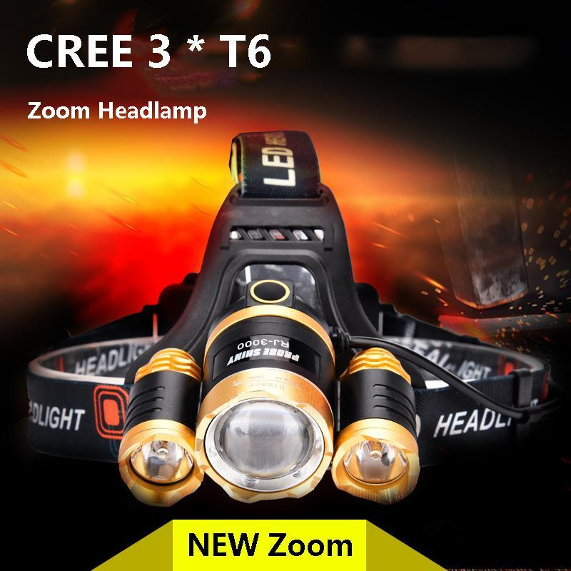 Upgraded 20W 3 LED XM-L2 T6 IPX44 Focusing Headlamp Headlight CREE T6 or Q5 Light 2 x18650 Battery Waterproof Outdoor Camping Light Fishing Hunting High Power Rechargeable Zoom Headlight Charging Led Lights - intl