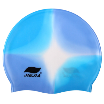 Usbnovel silicone children's waterproof long hair cap swimming cap