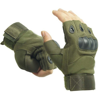 Vococal Outdoor Hunting Cycling Motorcycle Driving Tactical Fingerless Gloves XL Army Green