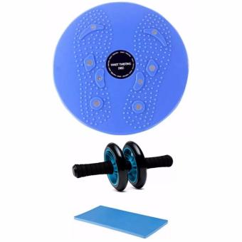 Waist Twisting DISC Exercise Body Waist Twist Board (Blue) withAbdominal Wheel Gym Exercise Roller with Extra Thick Knee Pad Mat-for Best Abs Workout-perfect Fitness Equipment (Blue)