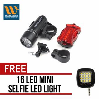 Waterproof WJ-101 5-LED Lamp Bike Bicycle Accessories Front HeadLight+Rear Safety Flashlight with free 16 Led Mini Selfie Led Light(Color May Vary)