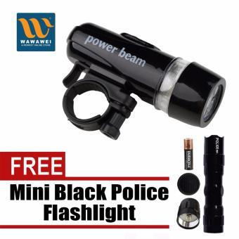 Wawawei Bike Bicycle 5 LED Power Beam Front Head Light HeadlightTorch Lamp (Black) with free Mini Black Police Flashlight