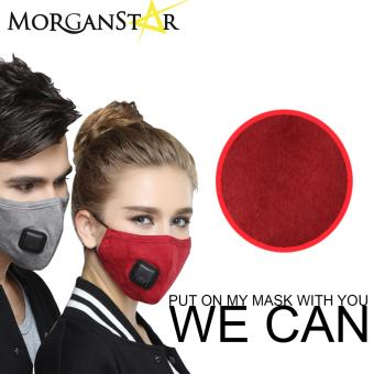 Wecan 2.5 pm dustproof plain cotton face masks with filterbreathing valve (Female) (Red)