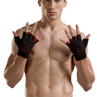 Weight Lifting Gym Fitness Gloves with Wrist Wrap and Grip - ForMen's and Women's - Half-Finger Design Padded Breathable WashableQuality Material Red M - intl - 4