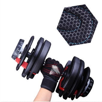 Weight Lifting Gym Fitness Gloves with Wrist Wrap and Grip - ForMen's and Women's - Half-Finger Design Padded Breathable WashableQuality Material Red M - intl - 2