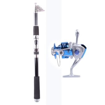 Whale Portable Carbon Fishing Rod Fishing Pole 2.1M+Rocker Reel Fishing Spool Vessel Fish Reel Rod Sea Spinning Wheel Line Gear FB1000 (Blue)