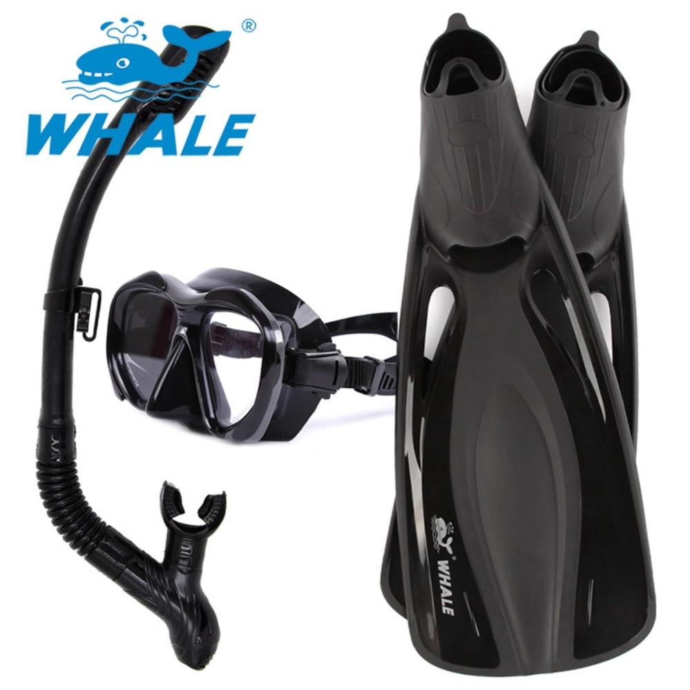 ... WHALE Water Sports Long Diving Equipment Scuba Diving Mask SnorkelFins Set Diving Flippers (Black XS ...