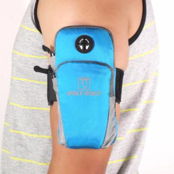 Wolf Rock Arm Bag Running Jogging Gym Cycling Armband Arm Band Holder Bag For Mobile Phones (Blue)