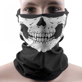 WWang Elastic Windproof Soft Polyester Skull Half Face Mask Facemask Headwear For Motorcycle ATV Cycling - intl
