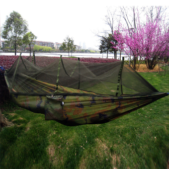 Yika Camping Travel Durable Parachute Fabric Hammock Hanging Bed +Mosquito Net (Camouflage) Price Philippines
