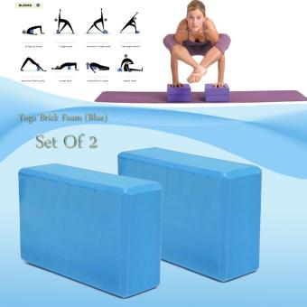 Yoga Brick Foam for Exercise and Health Fitness (Blue) set of 2