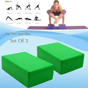 Yoga Brick Foam for Exercise and Health Fitness (Green) set of 2