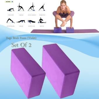 Yoga Brick Foam for Exercise and Health Fitness (Violet) set of 2