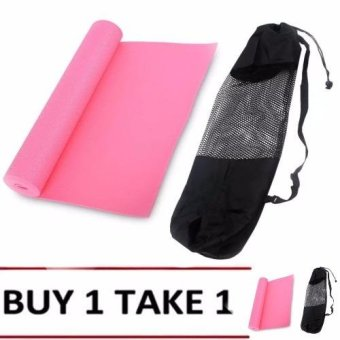 Yoga Mat 68x24 (Pink) Buy 1 Take 1 with Cloth Net Texture Yoga Mat Bag(Black)