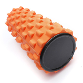 Yoga Physio Gym EVA Grid Foam Roller Pilates Back Massage Orange 32x12cm