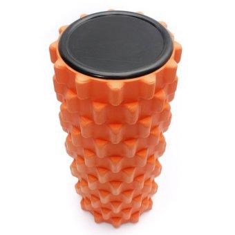 Yoga Physio Gym EVA Grid Foam Roller Pilates Back Massage Orange 32x12cm - picture 2