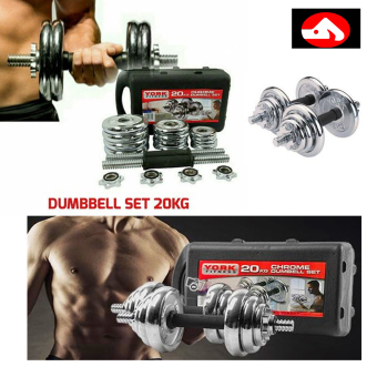 York Fitness 20kg Spinlock Chrome Adjustable Dumbbell Set