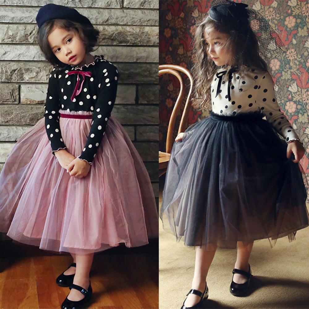 Hình ảnh MINI Bộ đồ Cho Bé Gái Váy Công Chúa Dài Tay Chấm Bi Với Nơ Thắt Eo Cao Nhiều Lớp Vải Tuyn Tulle Đầm Dự Tiệc