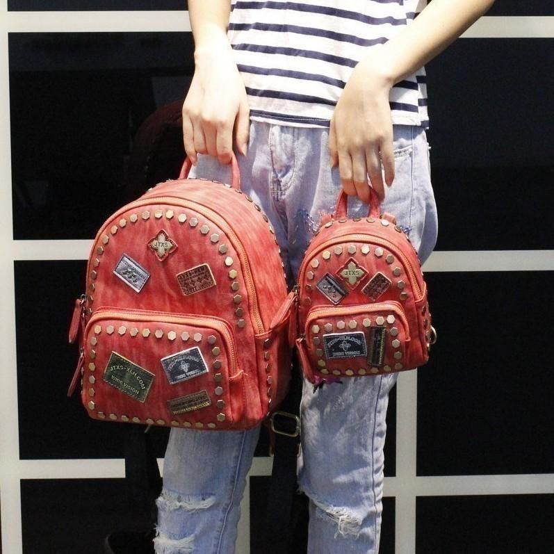 Detail Gambar JTXS item baru heksagonal paku keling Warna kombinasi mini lencana Tanda Jasa selempang tunggal Tas Ransel ransel perempuan Tas Gaya Korea ...