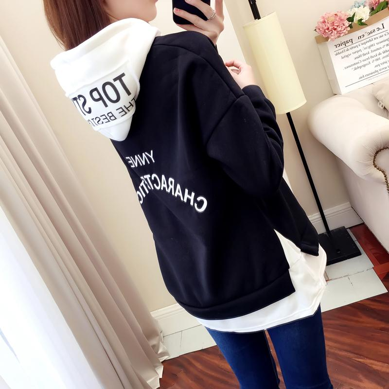 2018 musim gugur musim dingin model baru Gaya Korea longgar murid Tambah beludru Kaos Sweater jaket