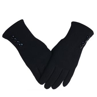 1 Pair of Women Touch Screen Sensitive Gloves Cashmere Solid Color Winter Warm Glove Black - intl