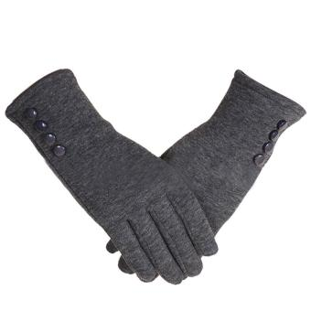 1 Pair of Women Touch Screen Sensitive Gloves Cashmere Solid Color Winter Warm Glove Grey - intl