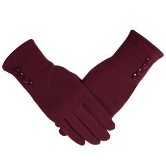 1 Pair of Women Touch Screen Sensitive Gloves Cashmere Solid Color Winter Warm Glove Red - intl