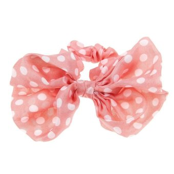 10 Colors Women Scrunchie Ponytail Holder Satin Ribbon Bow Hair Band Hair Rope Pink+White