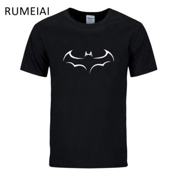 100% COTTON Men T Shirt Casual Short Sleeve T-shirt for Men Batman Print Men T Shirt Crewneck Mens Tee Shirt Black - intl