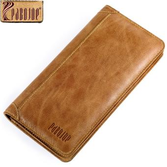 [100% Genuine] 2017 New Pabojoe Vintage Men Wallets Genuine Leather Wallet Long Organizer Purse Checkbook Credit Card Holder-Yellow - intl