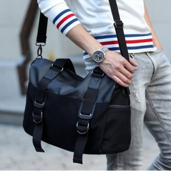 100% leather Canvas Cross Body Messenger Shoulder Briefcase SchoolBag - intl