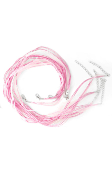 10pcs Korean Suede Cord Wire Necklace Lobster Clasp 1.7x2.6mm Pink - picture 2