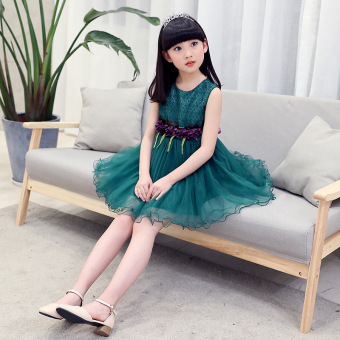 12 Korean-style summer New style princess dress girls dress (Dark Green)