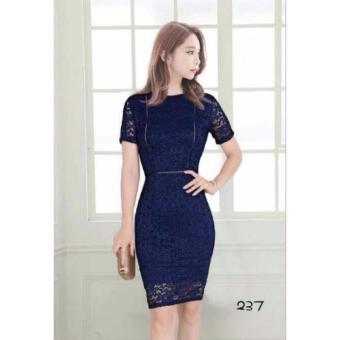 #128 Lace Overlay Short Sleeved Pencil Cut Dress (Navy Blue)