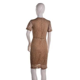 #128 Lace Overlay Short Sleeved Pencil Cut Korean Dress (Tan) - 4