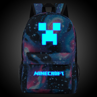 18.5inch Star Minecraft Logo Teenagers Backpacks Night-luminous Barcelona Travel Bags School Bag Shoulder Bags Gift for Boys Girls - intl
