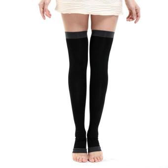 1pair Varicose Veins Compression Burn Fat Super Thin Sleeping overnight Slimming Stockings lady's Beauty Leg Slim legging (colour:Black) - intl