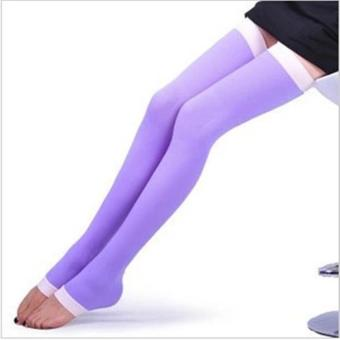 1pair Varicose Veins Compression Burn Fat Super Thin Sleeping overnight Slimming Stockings lady's Beauty Leg Slim legging (colour:purple) - intl