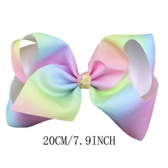 1PCS 7.9inch Big Bowknot Ribbon Rainbow Hair Bow with AlligatorClip Hair Clip Cheer Bow for Kids Women Girls - intl - 3