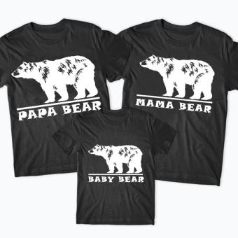 (1PCS BABY BEAR Top) Family Matching Clothes Mom Daddy And Kids Cotton T-shirt Short Sleeve Blouse(Color:Black)