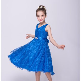 2-12 years old Pageant Flower Girl Dress Kids Birthday WeddingBridesmaid Gown Formal Dresses(blue) - intl