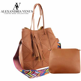2 in 1 Korean Leather Tote Bag Fashion Bag Shoulder Bag Sling BagAztec Strap Bag with Tassel Casual Bag Set Alexandria