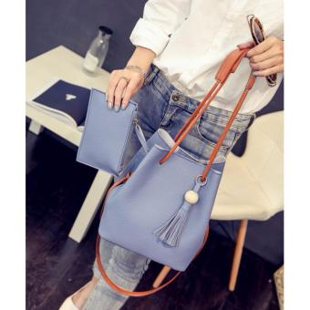 2 in 1 Korean Style Pastel Color Bucket Bag Tassel with Pouch Shoulder Bag Body Bag Casual Bag Blue