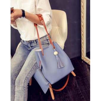 2 in 1 Korean Style Pastel Color Bucket Bag Tassel with Pouch Shoulder Bag Body Bag Casual Bag Blue - 2