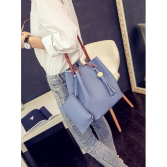 2 in 1 Korean Style Pastel Color Bucket Bag Tassel with Pouch Shoulder Bag Body Bag Casual Bag Blue - 5