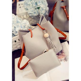 2 in 1 Korean Style Pastel Color Bucket Bag Tassel with Pouch Shoulder Bag Body Bag Casual Bag Gray