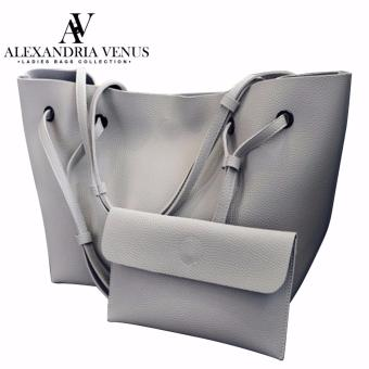 2 in 1 Large Korean Leather Bag Bucket Bag Fashion Bag Shoulder Bag Tote Bag Casual Shoulder Bag with Flat Pouch Alexandria (Light gray)