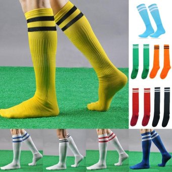 2 Pairs/set New Popular 10 color Men Women Kids Casual striped longtube Socks Professional Sport Soccer Footballs lacrosse Knee HighSocks - intl