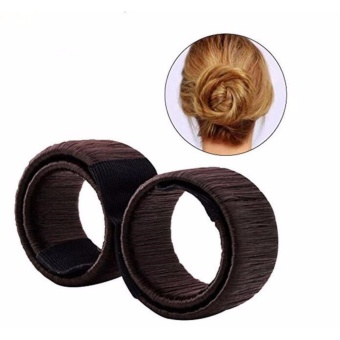 2 pcs Hair Styling Clip Magic Bun Maker Donut Hair Style Tools forWomen Girls Hair Pin Accessories Brown - intl