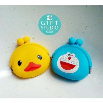 2 pcs set Cute Emoji Silicone Coin Purse